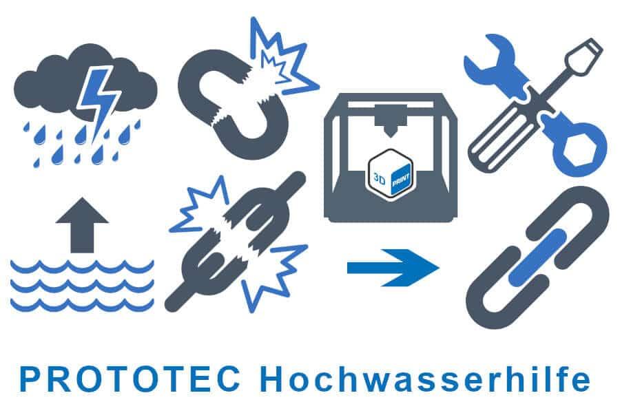 Hochwasserhilfe- 3D-Druck von PROTOTEC